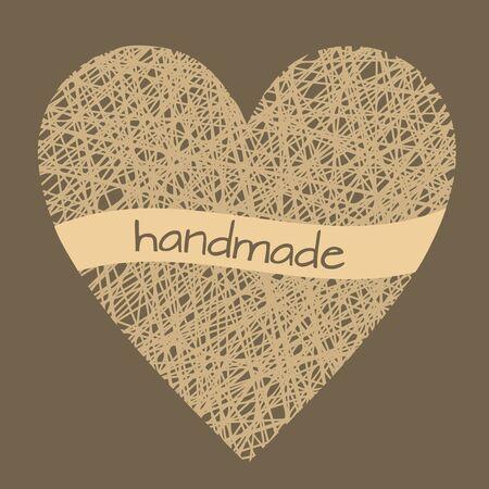 Doodle illustration of handmade wicker heart, outline wireframe heart decoration