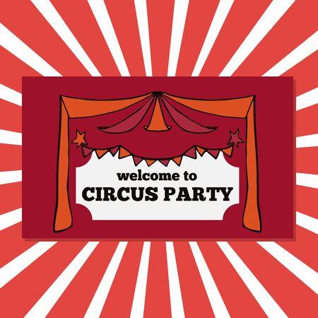 fondo de circo: Vector boletos partido retro circo ilustraci�n, circo plantilla justa, bandera del carnaval Vectores