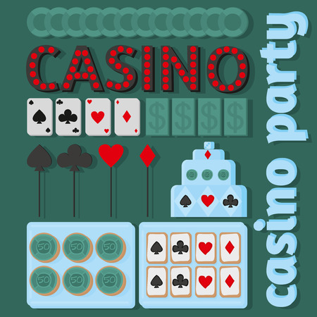 fortune cookie: Casino set, vector casino party ideas in flat style Illustration