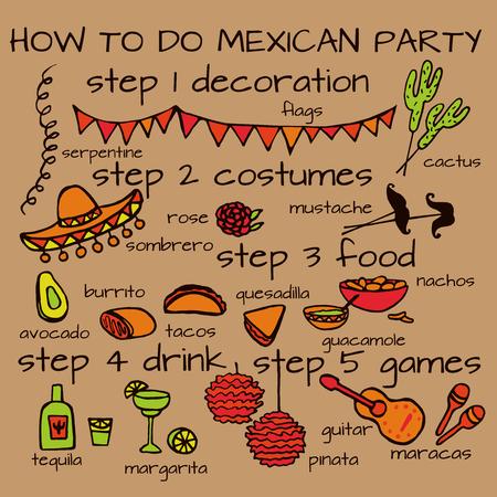 Doodle set of Mexican party ideas, cinco de mayo elements, mexico fiesta Illustration
