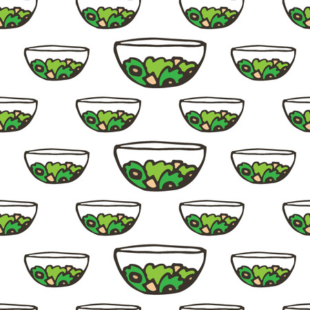 doodle greek salad seamless pattern