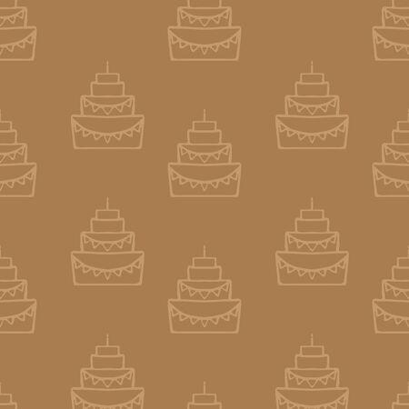cake stand: Tasty birthday cake illustration, wedding cake isolated, pie with candle, dessert for celebrating  seamless pattern Illustration