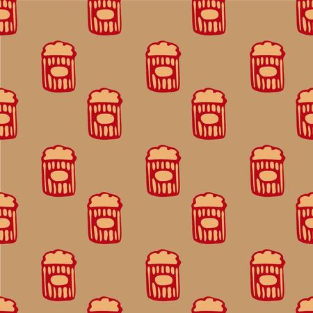 vector popcorn seamless pattern, popcorn in the box