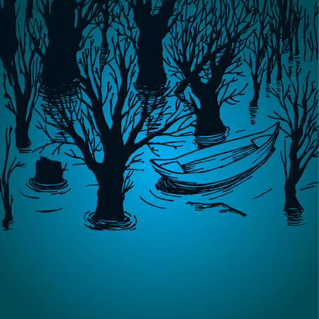 rowboat: Illustration of trees in the water with lonely boat, floating boat in the lake Vectores