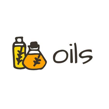 huile: Doodle logo d'olive, huile isol� dans la bouteille avec l'usine Illustration