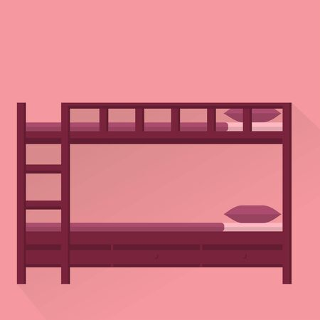 letto a castello: Side View flat vector illustration of bunk bed with stairs