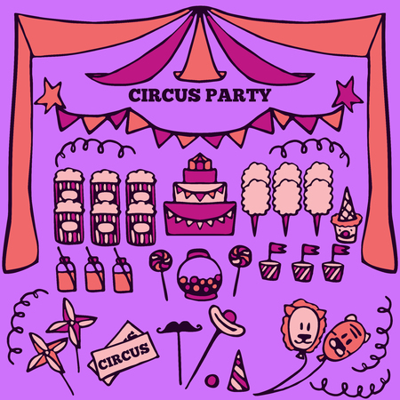 circus: Vector retro circus party ideas illustration, circus fair product elements, carnival set