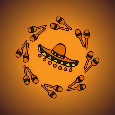 latinoamerica: doodle mexican background sombrero and maracas