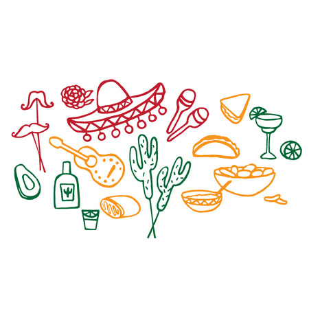 spanish flag: Doodle set of Mexican elements, cinco de mayo elements, mexico fiesta