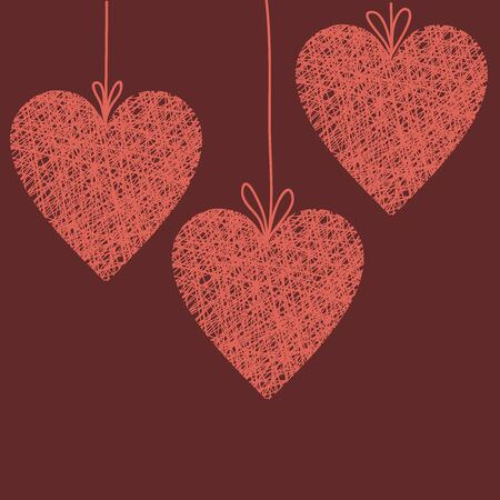 heart shape: Doodle illustration of handmade wicker heart, outline wireframe heart decoration