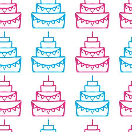 wedding cake isolated: Tasty birthday cake illustration, wedding cake isolated, pie with candle, dessert for celebrating  seamless pattern Illustration