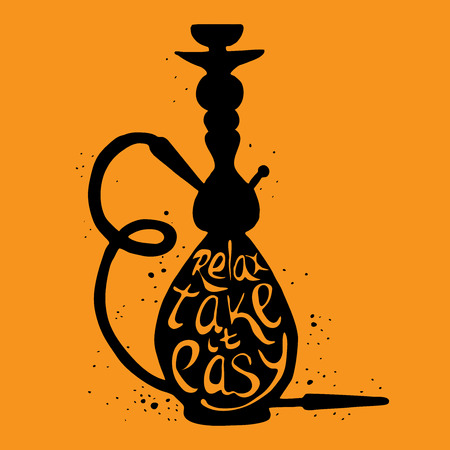 take it easy: Hookah icon with phrase relax take it easy, illustration of hookah