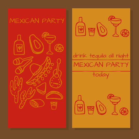mexican party: Tickets for mexican party, Doodle set of Mexican party ideas, cinco de mayo elements, mexico fiesta