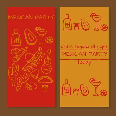 enchiladas: Tickets for mexican party, Doodle set of Mexican party ideas, cinco de mayo elements, mexico fiesta