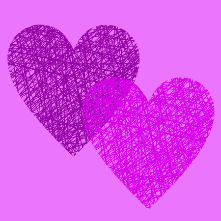 wattled: Doodle illustration of handmade wicker heart, outline wireframe heart decoration