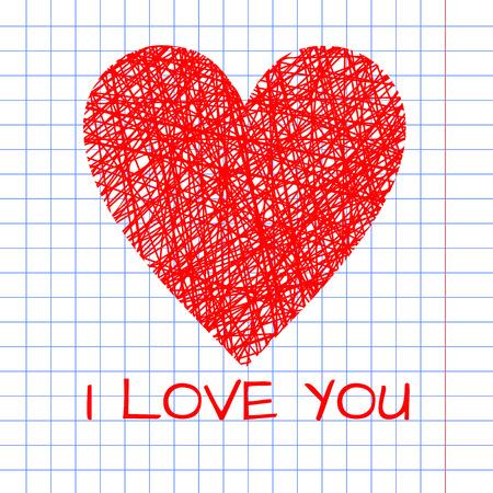 heart outline: Doodle illustration of handmade wicker heart, outline wireframe heart decoration