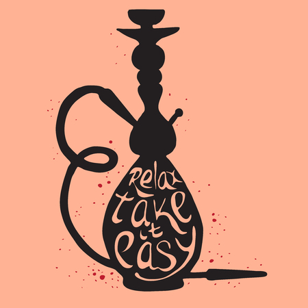 Hookah icon with phrase relax take it easy, illustration of hookah