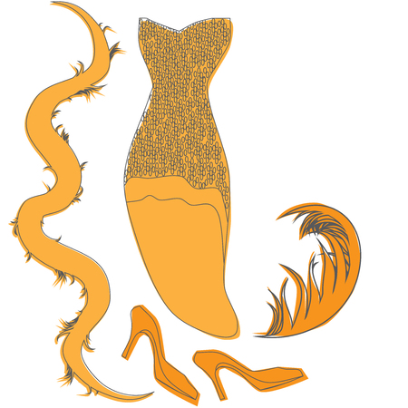 feather boa: Vector burlesque vintage look, retro cabaret woman cloth