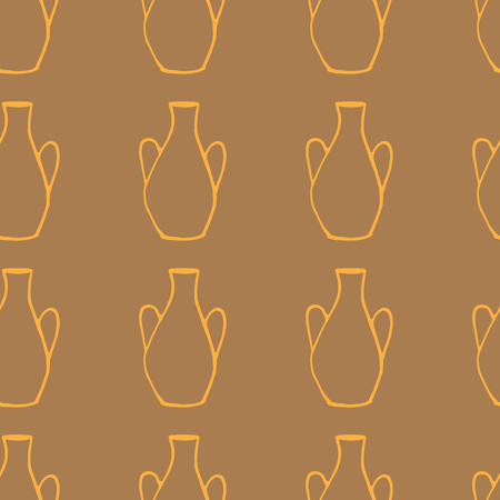 decorative urn: Doodle ancient jug seamless pattern, isolated ceramic greek vase