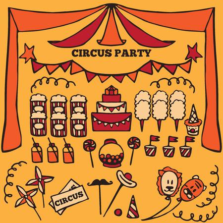 circo: Vector ideas de la fiesta retro del circo ilustración, los elementos de circo de productos justo, juego de carnaval Vectores