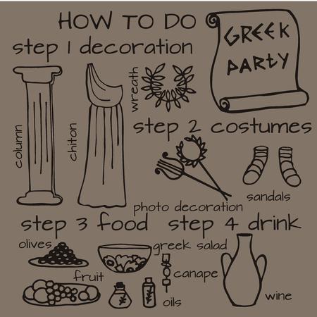 Doodle set of ancient greek party ideas, Greece elements: food, cloth, decoration