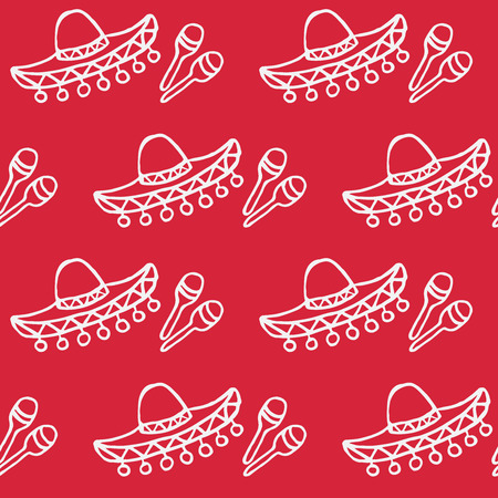 celebration background: doodle mexican background sombrero and maracas seamless pattern Illustration