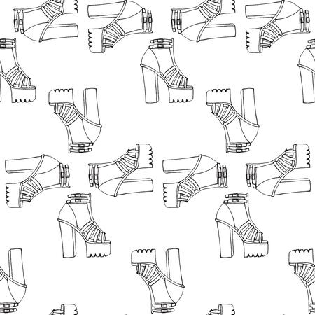 sandals: Vector trendy doodle high tick heel shoes with platform, outline sandals seamless pattern