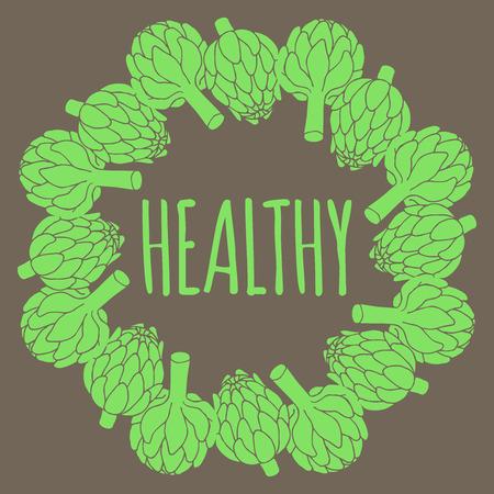 artichoke: doodle illustration of artichoke, organic vegan background, healthy food