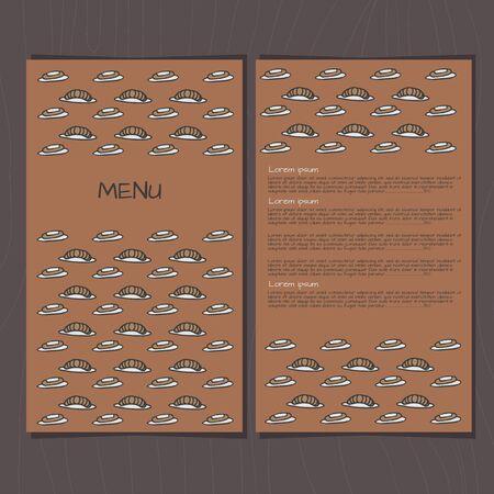 eclair: doodle croissant and eclair menu template Stock Photo