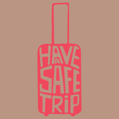travel bag: travel bag with handwritten phrase about trip, baggage with aphorism about travel