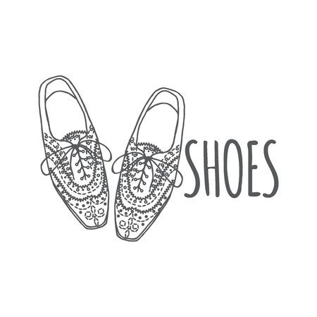 oxford: Vector Illustration of oxfords shoes, doodle hipster lace-Ups shoes, outline style.
