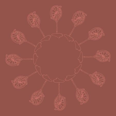 unicycle: doodle hand drawn monocycle pattern background, illustration of unicycle