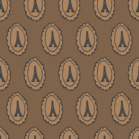 cameo: doodle eiffel tower cameo seamless pattern