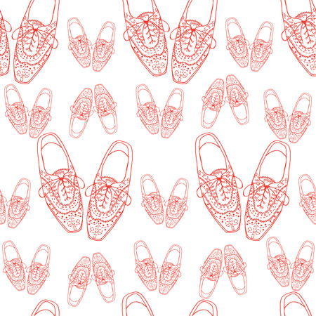 Vector Illustration of oxfords shoes, doodle hipster lace-Ups shoes seamless pattern, outline style.