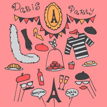 eclair: Doodle set of Paris party ideas, france elements