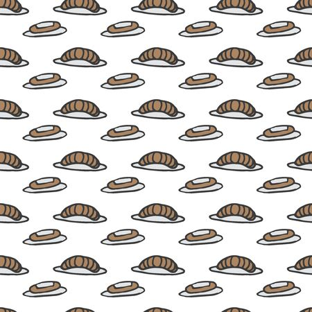 eclair: doodle croissant and eclair pattern