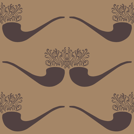 whiff: Doodle illustration of tobacco pipe with smoke pattern