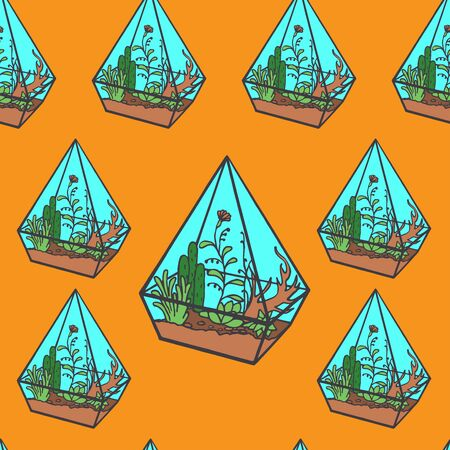 terrarium: Vector glass polygonal terrarium  with succulent plants, grass and flowers, doodle sketch garden under glass seamless pattern Stock Photo