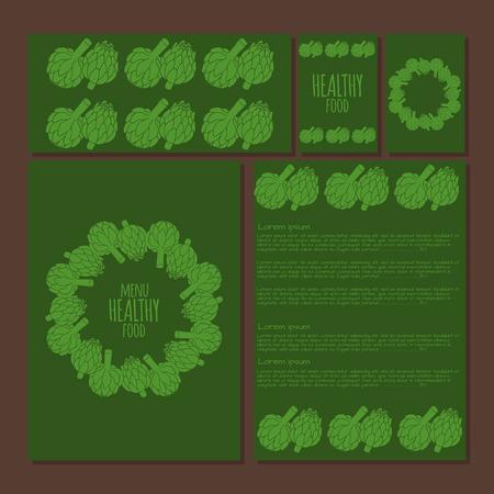 artichoke: Menu template, doodle illustration of artichoke, organic vegan background, healthy food
