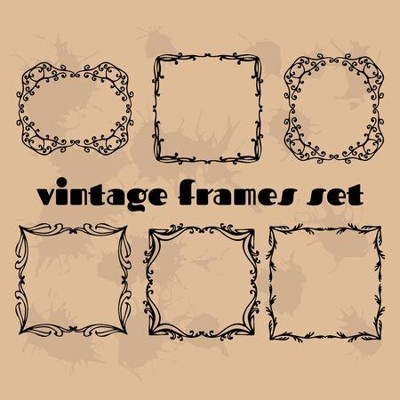 ornamental scroll: Vintage flower rustic design elements doodle frames