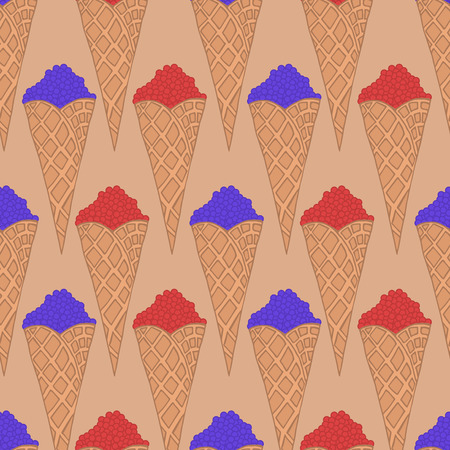 whortleberry: Doodle wafer cone with fruits, fruit and berry ice-cream