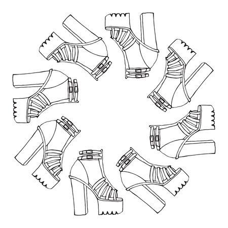 sandals: trendy doodle high tick heel shoes with platform, outline sandals