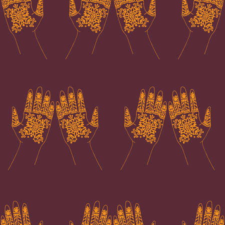 mehendi: hands with indian mehendi henna, traditional weddings tattoo Illustration