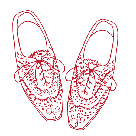 Illustration of oxfords shoes, doodle hipster lace-Ups shoes, outline style.