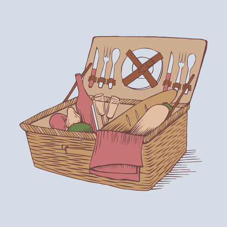wine bottles: doodle vintage picnic basket with food and drinks, outline picnic container with vegetable, hand drawn retro picnic box