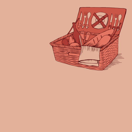 vegetable basket: doodle vintage picnic basket with food and drinks, outline picnic container with vegetable, hand drawn retro picnic box