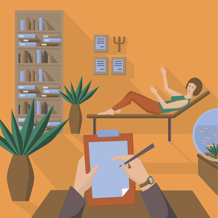 psychology: Flat psychologist office, flat girl with psychological problems, woman have psychological therapy