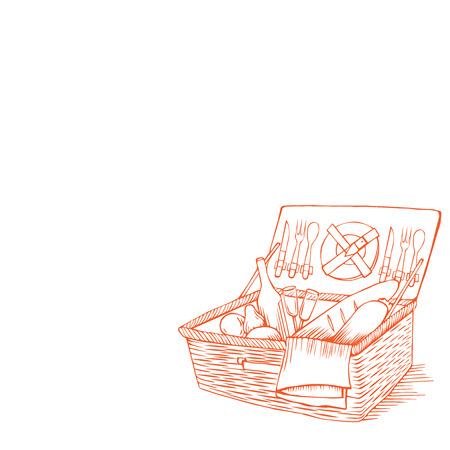 doodle panier pique-nique vintage avec nourriture et boissons, contour conteneur de pique-nique avec des légumes, tiré par la main boîte de pique-nique rétro