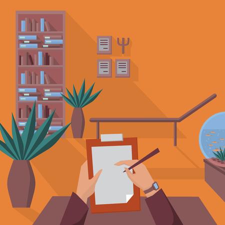 terapia psicologica: oficina psicólogo plana con sofá, terapia psicológica plana Vectores