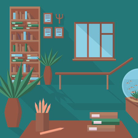 psychologist: Flat psychologist office with couch, flat psychological therapy